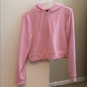 Adidas pink hooded crop sweatshirt